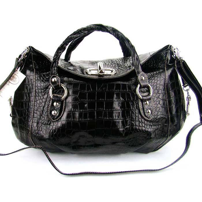 Black Croc Embossed Leather Handbag Made in Italy by Robe ...