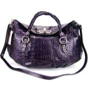 Robe Di Firenze Italian Designer Purple Croc Embossed Leather Handbag