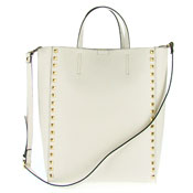 Asia Bellucci Italian Made Off-White Leather Large Structured Designer Studded Tote