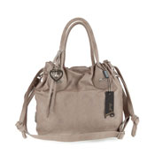 Jenrigo Italian Designer Taupe Perforated Leather Small Drawstring Tote