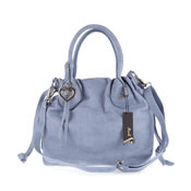 Jenrigo Italian Designer Blue Perforated Leather Small Drawstring Tote
