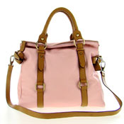 Cerutti Italian Made Dusk Pink & Brown Leather Large Carryall Tote