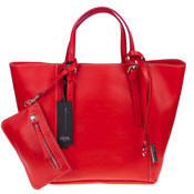 Gianni Chiarini Italian Made Red Leather Structured Tote With Wallet