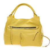 Gianni Chiarini Italian Made Banana Yellow Large Zip Pocket Tote Handbag with Pouch