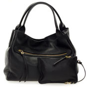 Gianni Chiarini Italian Made Black Large Zip Pocket Tote Handbag with Pouch