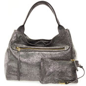Gianni Chiarini Italian Made Metallic Pewter Large Zip Pocket Tote Handbag with Pouch