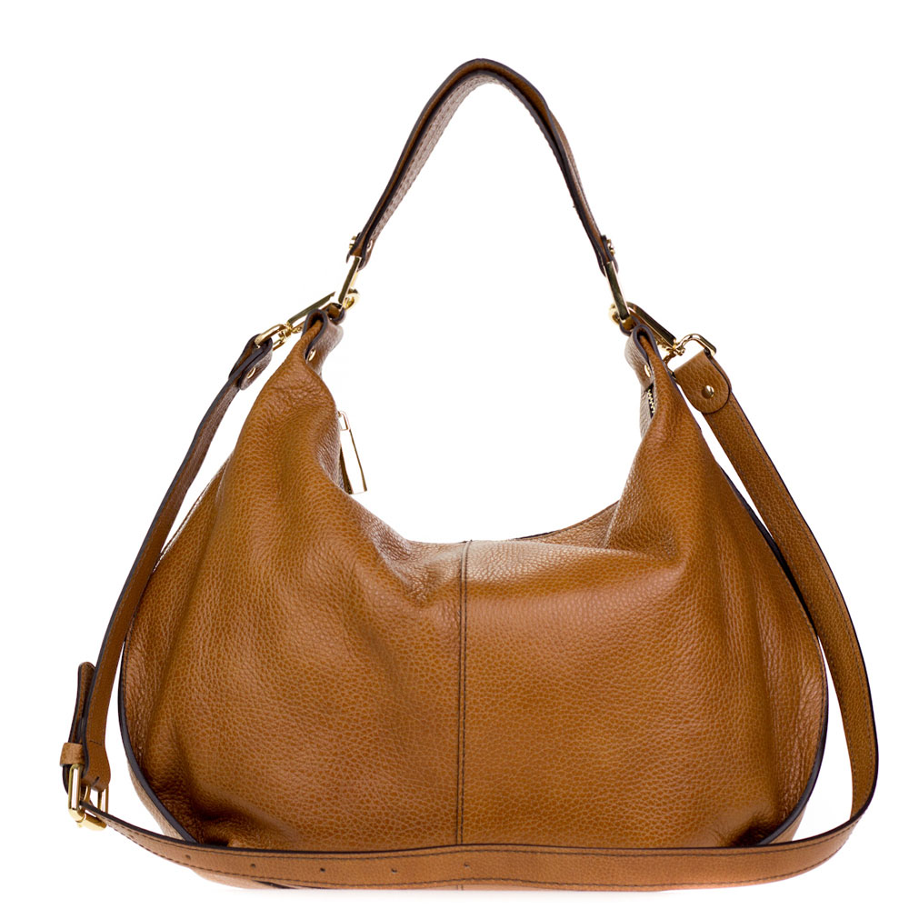 Gianni Chiarini Italian Made Cognac Brown Pebbled Leather Slouchy Hobo Bag