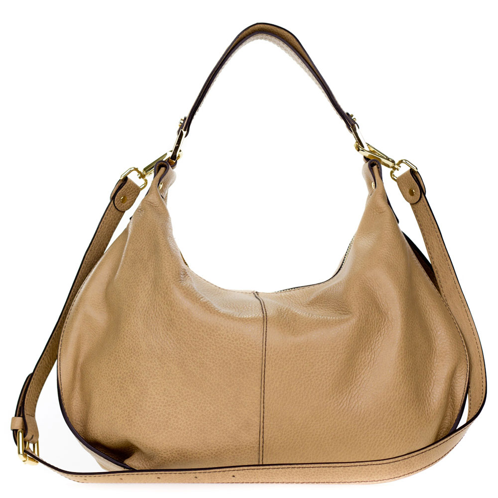Gianni Chiarini Italian Made Beige Pebbled Leather Slouchy Hobo Bag