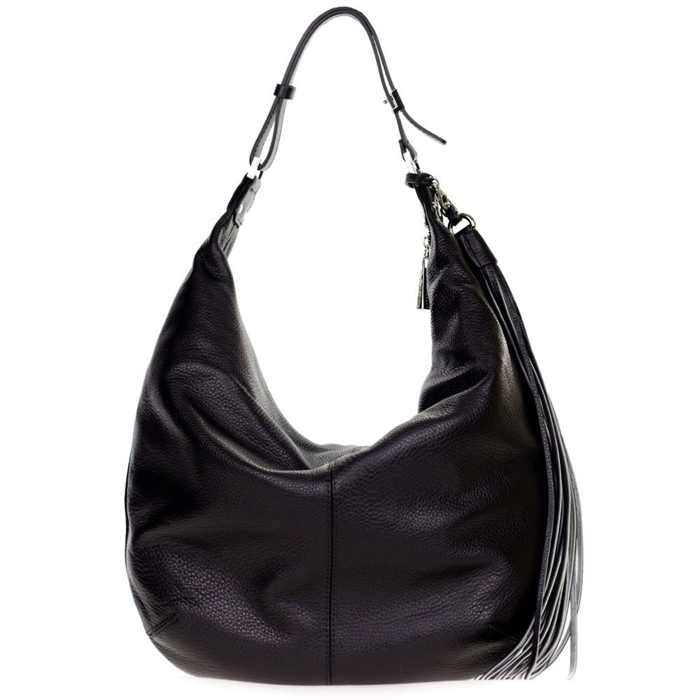 Gianni Chiarini Italian Made Black Leather Large Hobo Bag with Tassel