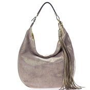 Gianni Chiarini Italian Made Gold Beige Canvas & Leather Large Hobo Bag