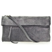 Gianni Chiarini Italian Made Gray Metallic Shimmer Leather Evening Clutch Bag