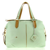 Bruno Rossi Italian Made Mint Green Calfskin Leather Large Carryall Tote Shoulder Bag