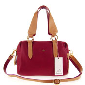 Bruno Rossi Italian Made Red Calfskin Leather Satchel Shoulder Bag