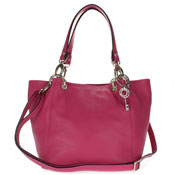 Maxima Italian Made Fuchsia Leather Medium Size Tote Shoulder Bag