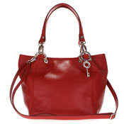 Maxima Italian Made Red Leather Medium Size Tote Shoulder Bag