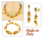 Italian Venetian Murano Jewelry Set: Necklace, Earrings And Bracelet - Amber
