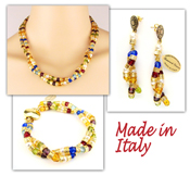 Italian Venetian Murano Jewelry Set: Necklace, Earrings And Bracelet - Multi Color