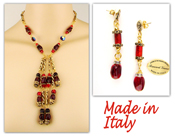 Italian designer Venetian Murano Jewelry Set: Necklace And Earrings - Red