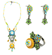 Italian Fashion Jewelry Set: Necklace, Earrings, Ring