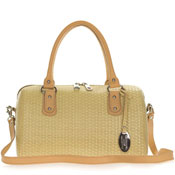 Giordano Italian Made Sand Woven Leather Satchel Bag