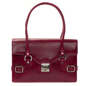 L.A.P.A. Italian Designer Magenta Red Leather Shoulder Bag