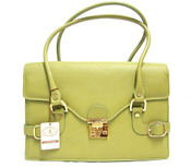 L.A.P.A. Italian Designer Green Leather Shoulder Bag