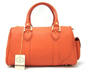 L.A.P.A. Italian Designer Orange Leather Handbag Satchel