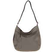 Bruno Rossi Italian Made Gray Leather Large Hobo Bag with Side Pocket