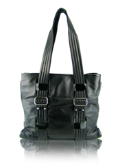 Cynthia Rowley Karina Black Leather Designer Satchel Handbag