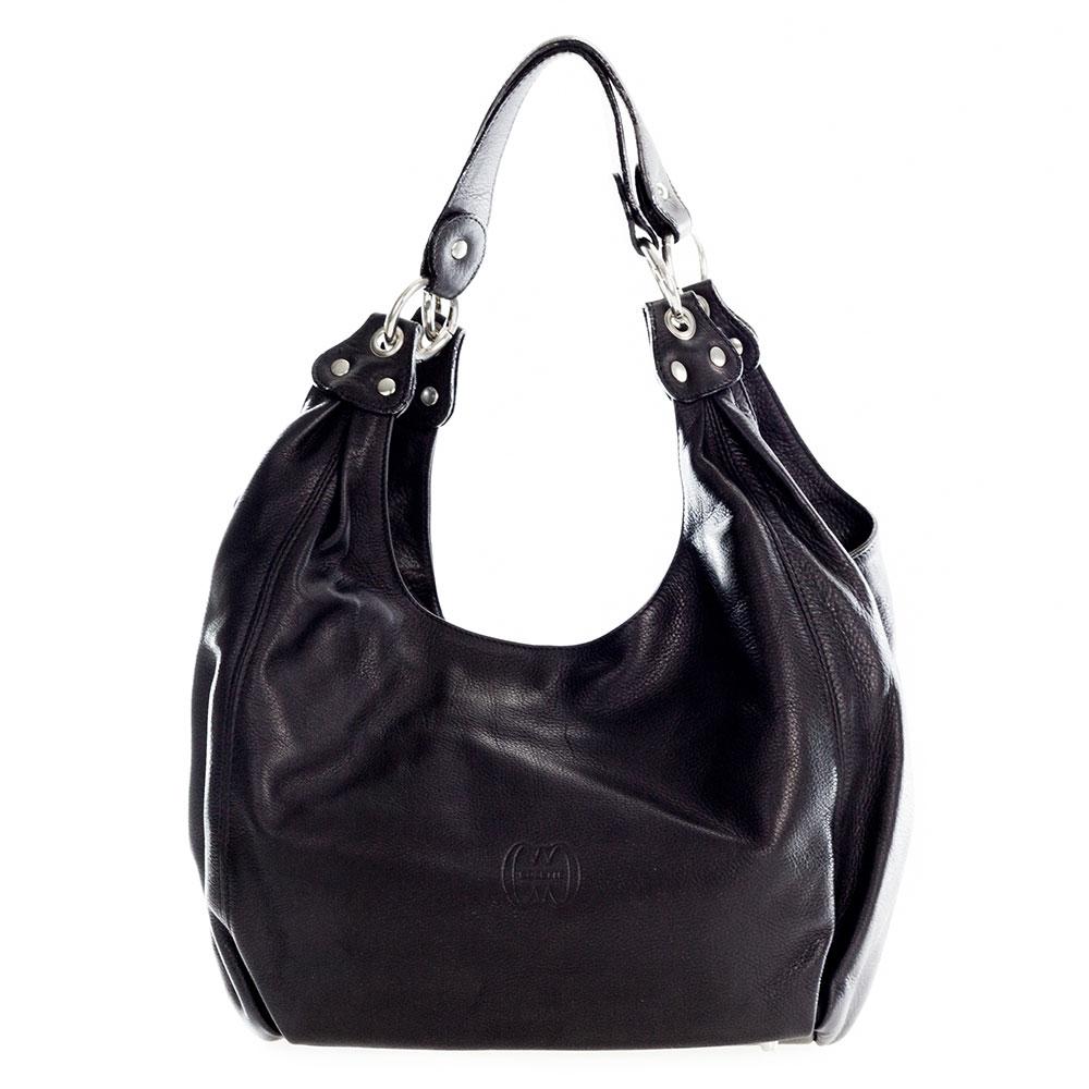 Cosette Italian Made Black Leather Designer Hobo Bag