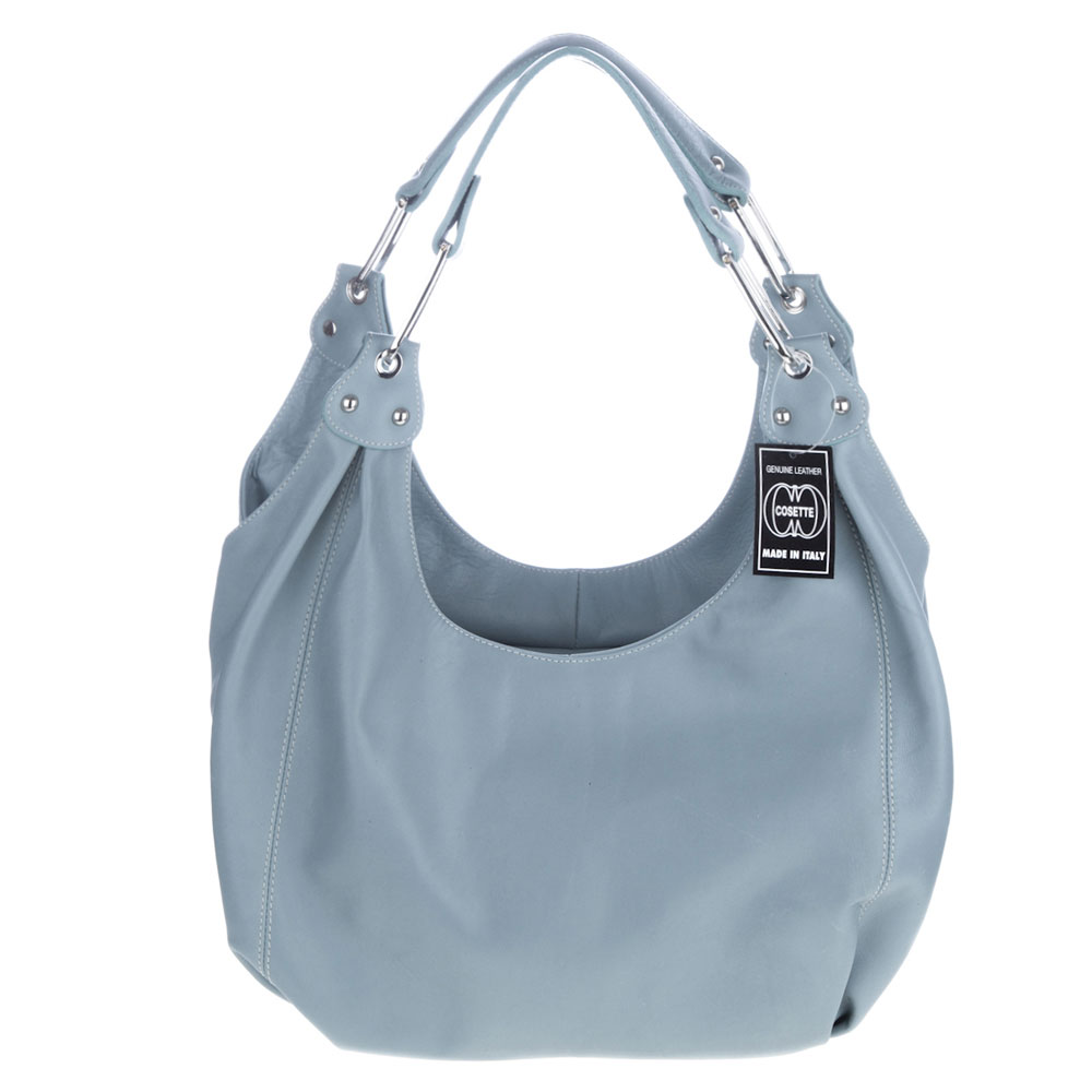 Cosette Italian Made Pale Blue Soft Leather Slouchy Hobo Shoulder Bag