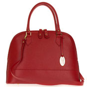 Giordano Italian Made Red Leather Large Structured Tote Handbag