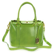 Giordano Italian Made Green Glazed Leather Small Structured Satchel Bag