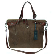 Veneta Italian Brown Snakeskin Embossed Leather Tote Handbag