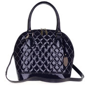 Giordano Italian Made Tote Handbag in Navy Blue Patent Quilted Leather with Silver Stitching