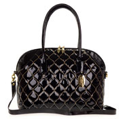 Giordano Italian Made Large Tote Handbag in Black Patent Quilted Leather with Gold Stitching