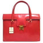 L.A.P.A. Italian Made Coral Pink Calfskin Leather Classic Women's Briefcase