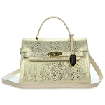 Giordano Italian Made Gold Snake Print Leather Small Structured Handbag
