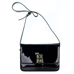 AnnaRita N Italian Made Black Patent Leather Crossbody Bag