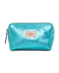 Cavalcanti Italian Made Small Makeup Bag in Metallic Aqua