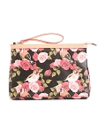 Cavalcanti Italian Made Large Makeup Bag in Floral Print Leather