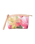 Cavalcanti Italian Made Small Makeup Bag in Floral Pink