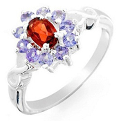 1.25Ctw Garnet & Tanzanite 925 Sterling Silver Gemstone Ring Sz 7