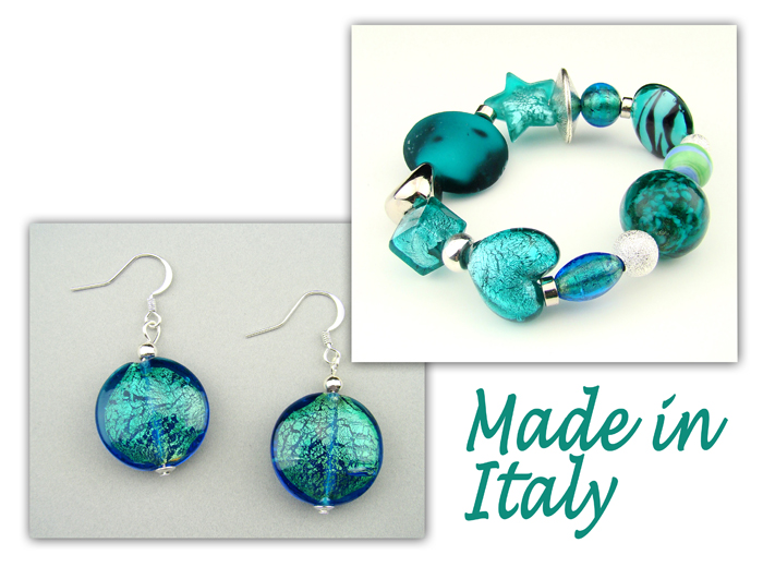 Italian Venetian Murano Jewelry Set: Stretch Bracelet & Drop Earrings - Blue