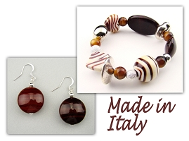 Italian Venetian Murano Jewelry Set: Stretch Bracelet & Drop Earrings - Brown
