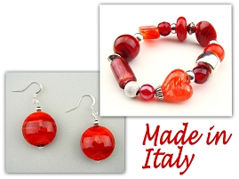 Italian Venetian Murano Jewelry Set: Stretch Bracelet & Drop Earrings - Red