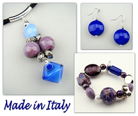 Italian Venetian Murano Jewelry Set: Necklace, Bracelet And Earrings - Blue