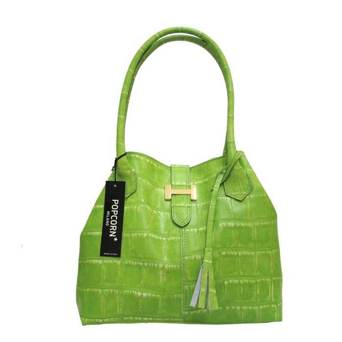Popcorn Milano Italian Made Designer Green Croc Leather Handbag
