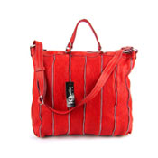 IO Pelle Italian Red Leather Zippered Shoulder Bag Briefcase
