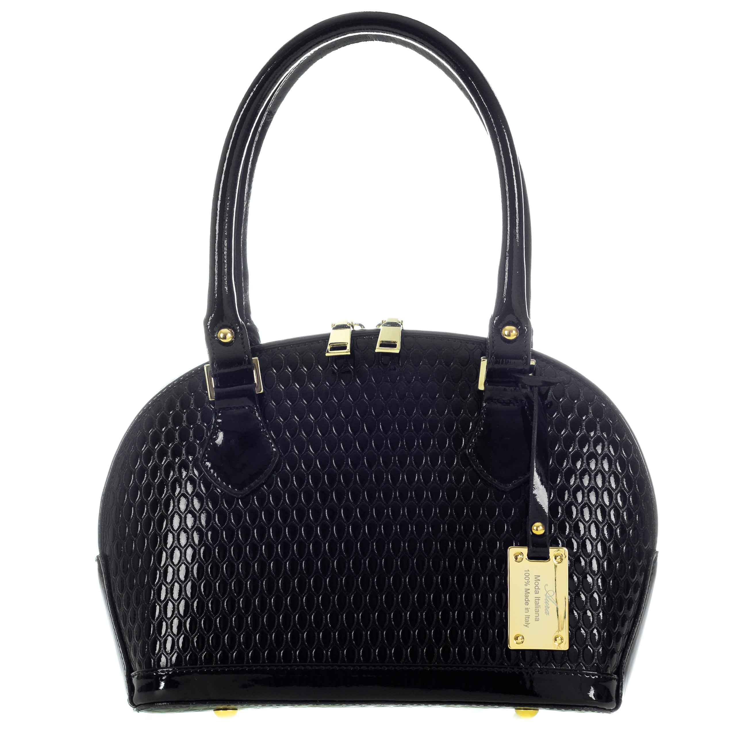 c9d10944d311 Black Patent Tote Handbag